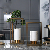 Fashion Golde Metal Solid Rectangle Vase Hydroponic Dried Flowers Modern White Marble Dining Table Countertop Flower Basin Decor