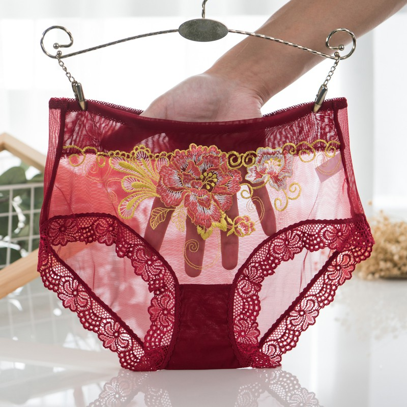 Floral Seamless Sexy Lingerie Panties Women Transparent Underwear Female Mid Rise Panties Embroidery Lace Briefs Feme