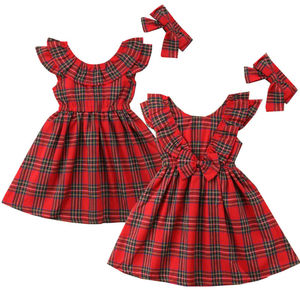 Cotton Baby Girl Princess Sleeveless Plaid Dress Kid Bow Checked Tutu Party Wedding Dress Xmas Christmas Pageant Party