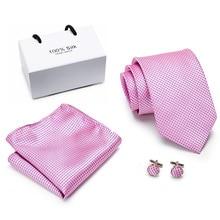 купить New  purple Striped Tie Silk Woven Men Tie Necktie Hanky Cufflinks Set Luxury Men's Party Wedding Pocket Square Tie по цене 271.6 рублей