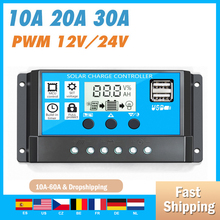 Solar Charge Controller 12V/24V 10/20/30A Auto PWM 5V Output Solar Panel Battery Controller Regulator With Dual USB LCD Display