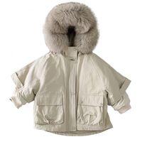 Fashion Girls Nature Fur Coat Kids Jackets With Fur Collar Warm Boys Fur Coat Winter Girls Coat Children Snowsuits Girls Parka