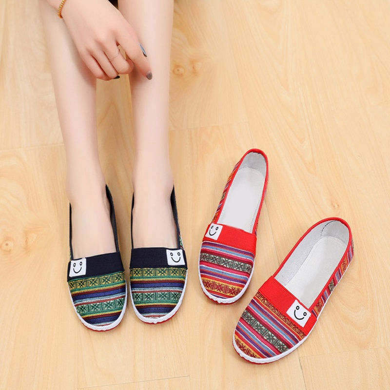 Women's Flats Ladies Causal Loafers Woman Slip On Striped Female Comfortable Shoes Smile Face Women 2020 Spring Soft Bottom