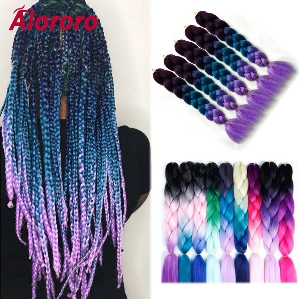 Alororo Afro Ombre jumbo Braids for Women 24inch Crochet Braid Hair Heat Resistant Fiber Synthetic Hair Extension Free Shipping