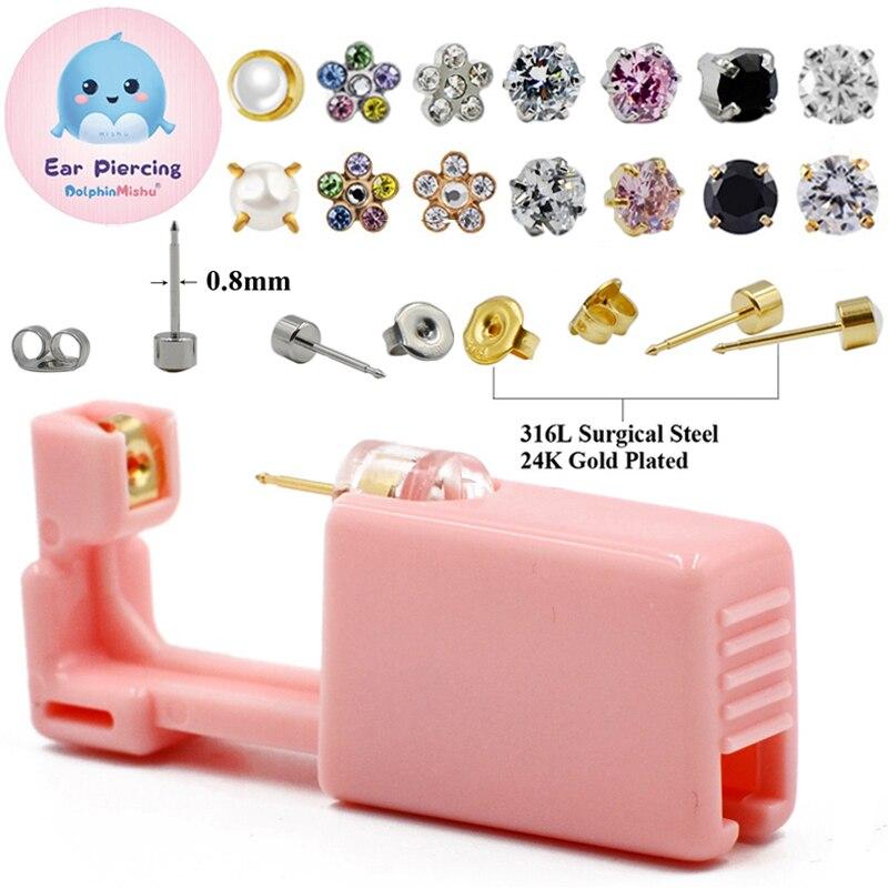 1PC Disposable Sterile Ear Piercing Unit Cartilage Tragus Helix Piercing Gun NO PAIN Piercer Tool Machine Kit Stud New Design