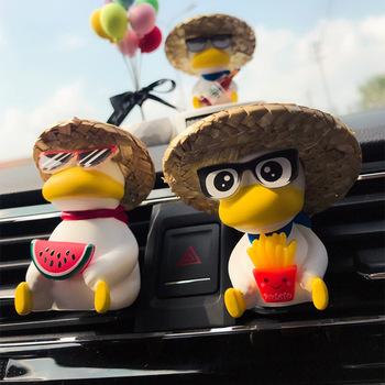 Car Vent odświeżacz powietrza na klipie Cute Duck akcesoria samochodowe dla chłopca prezent dekoracja wnętrz Car Vent Decor bez olejku tanie i dobre opinie CN (pochodzenie) Car Vent Clip Air Freshener Decor Ciecz