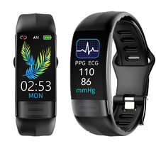 Смарт-часы ECG PPG с измерением температуры тела, пульса, артериального давления, кислорода, водонепроницаемый спортивный фитнес-браслет IP67