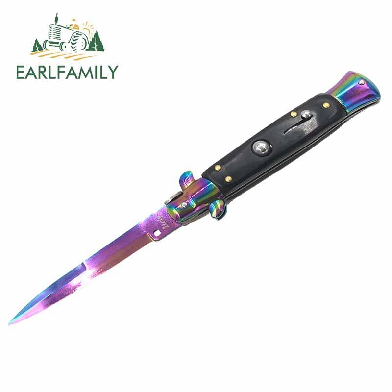 EARLFAMILY 13cm x 8,9 cm para cuchillo automático Switchblade calcomanía de camión parachoques ventana pegatinas de grafiti adecuado para vehículo