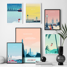 Cartoon World Famous City Landscape Nordic Posters And Prints Wall Art Canvas Painting Pictures For Living Room Home Decor