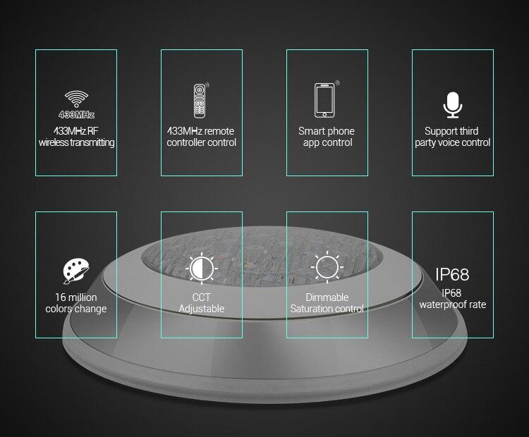 MiBoxer IP68 Подводный 27 Вт RGB + CCT настенный подводный умный светильник UW01 433 МГц дистанционное управление приложение управление - 6