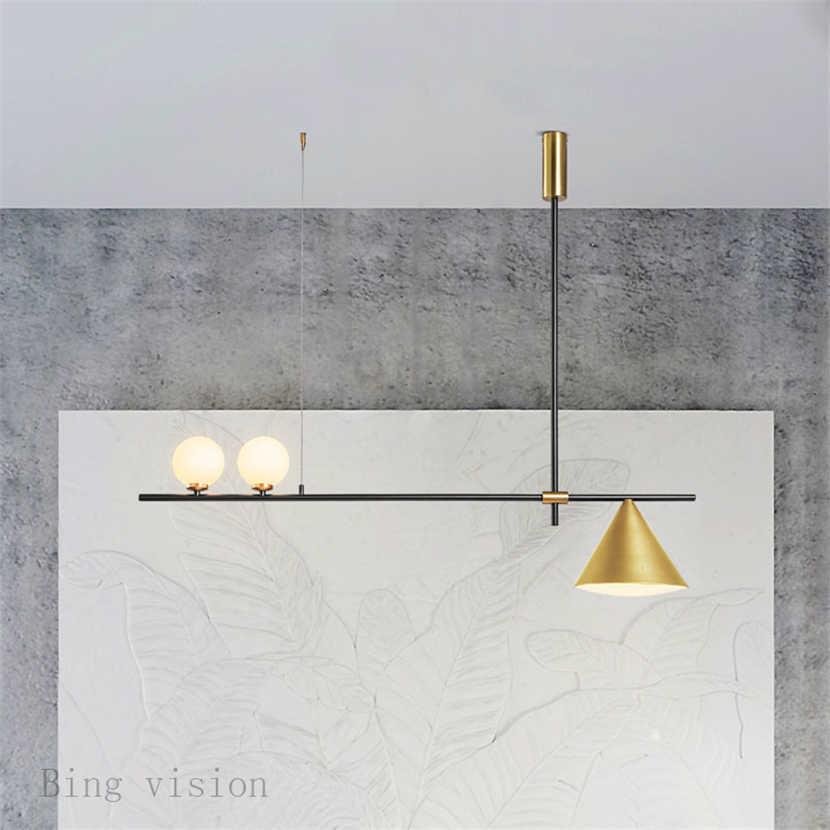 Nordic Minimalist Magic ถั่วจี้โคมไฟกระชับ Parlor เพลงร้านอาหารกาแฟห้องครัว LED โคมไฟแขวน