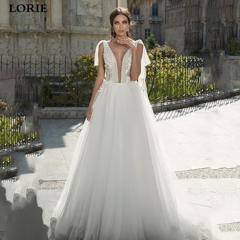LORIE A Line Lace Boho Wedding Dresses Appliqued Lace Bride Dresses Open V Back Princess Wedding Gowns Vestidos De Novia