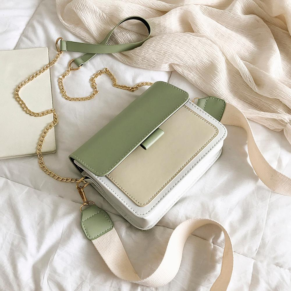 Mini Leather Crossbody Bags For Women 2019 Green Chain Shoulder Messenger Bag Lady Travel Purses Handbags Crossbody Bag