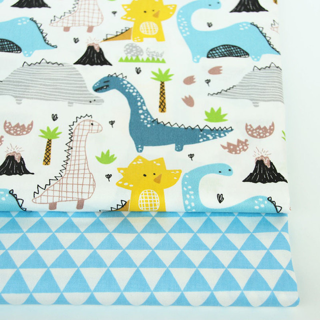 2PCS Dinosaur, Fox Cartoon Twill Printed 100% Cotton Fabric For Baby Sewing Quilting Fat Quarters Child DIY Patchwork Fabric 2
