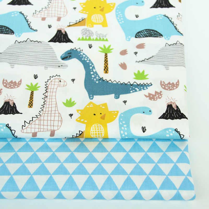 2 sztuk dinozaur, Fox Cartoon Twill wydrukowano 100% bawełna tkaniny dla dziecka szycia pikowania tłuszczu ćwiartki dziecko tkanina patchworkowa DIY