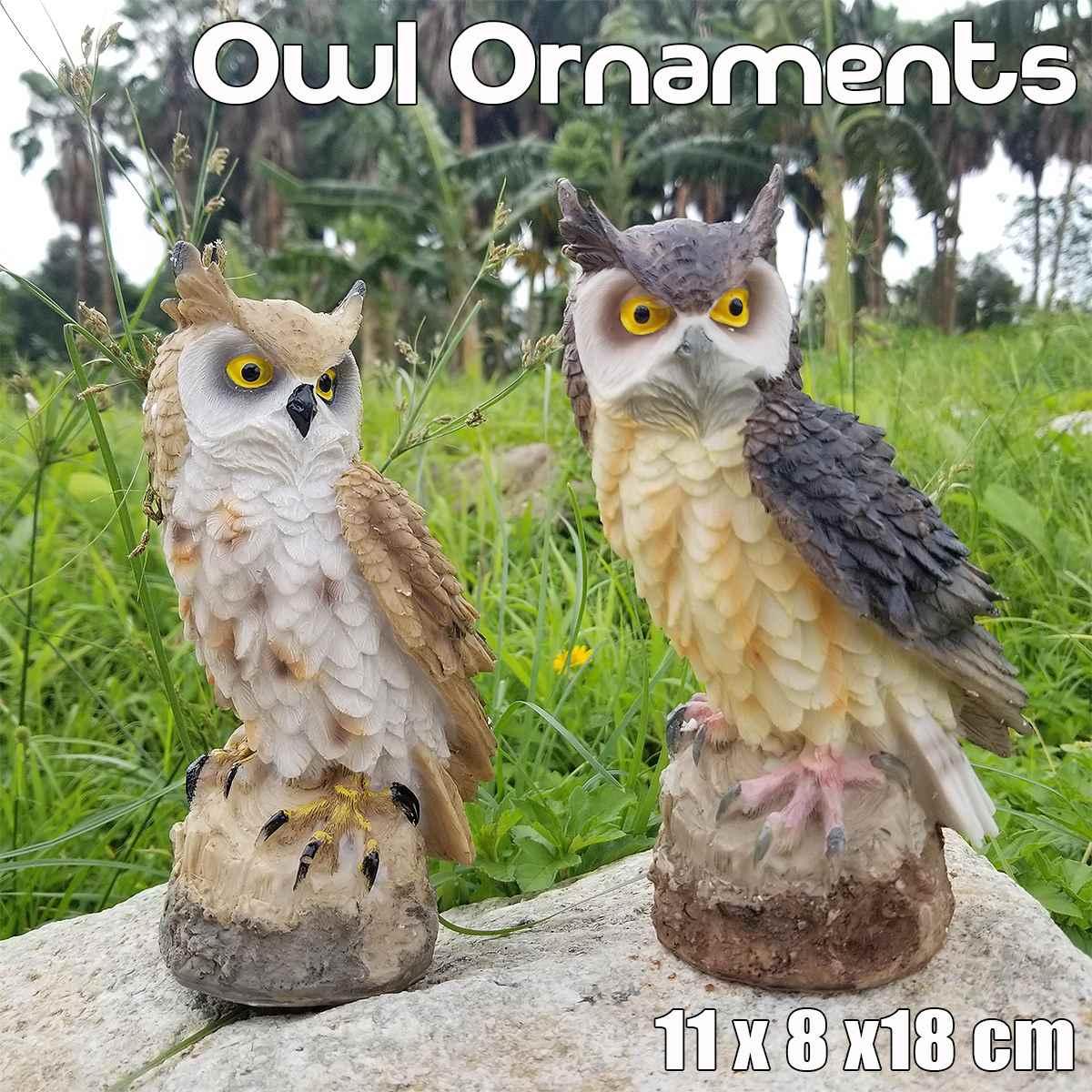NEW 11x8x18cm Synthetic Resin Miniature Owl Bird Animal Model Toy Figurine Indoor Outdoor Home Garden Decor Pest Bird Ornament