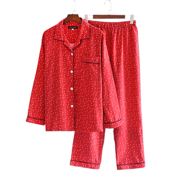 New Autumn Winter 100% brushed cotton women pajamas sets sexy red stars pyjama sleepwear pijamas mujer Plus Size - discount item  20% OFF Women's Sleep & Lounge