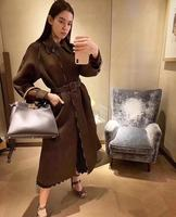 2020 Spring Autumn Long Trench Coat for Women Casual Slim Patchwork Hollow Out Women's High Fashion Hot Brown Trench with Belt