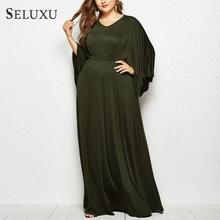 Seluxu 2019 Autumn Plus Size Women Dress Long Sleeve Elegant Sexy V-Neck Batwing package Hip
