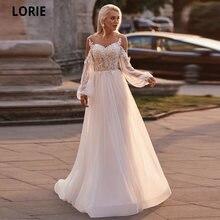 Лори Длинные Пышные рукава Кружева Свадебные платья 2020 Иллюзия