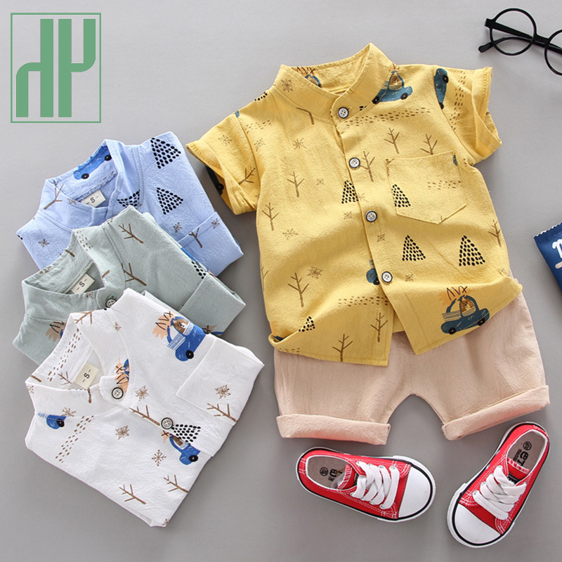 HH Baby Boy Clothing Sets 2021 Summer Boys Cartoon Suits Kids Cotton Shirts Shorts Sets Boy Toddler Clothes Children's Clothing