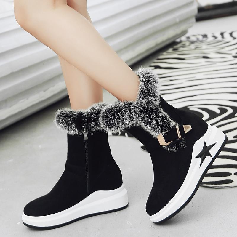 Bottes de neige femmes 2019 automne début hiver fond épais haut conseil supérieur chaussures mode miroir bottines amoureux chaussures