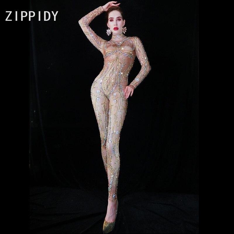 Multi-color Rhinestones Nude Spandex Jumpsuit Women Singer Bar Leggings Prom Stage Wear Dancer Birthday Outfit