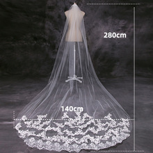 SERMENT Mermaid Wedding One-Layer Veil Embroidered Applique Bride 300cm Cathedral Trailing Lace Accessories