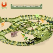Hot Dinosaur Toys Car Track Racing Track Set Educational Bend Flexible Race Track Railway Flash Light Car Model Kids Toys Gifts