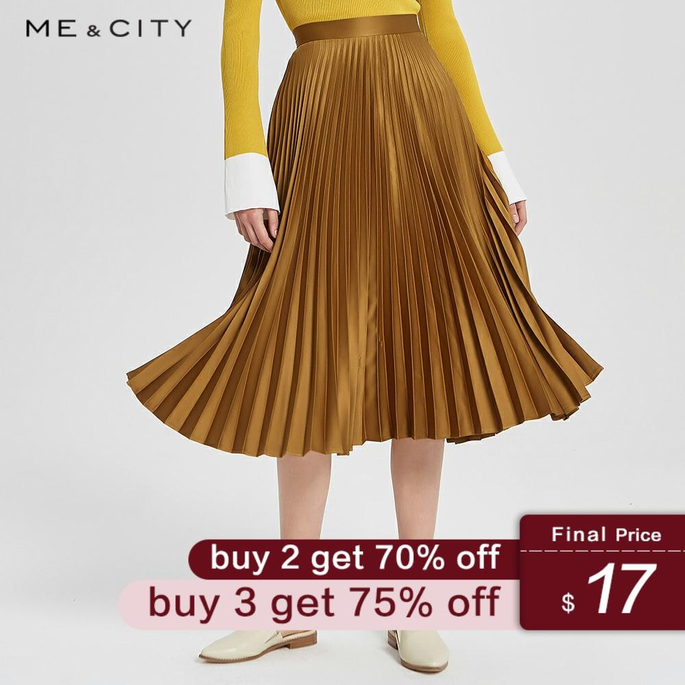 Me&city 2019 Women's Chic Skirt Early Autumn New Trend Solid Color Mid-length Pleated Skirt