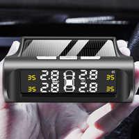 Coche inteligente TPMS sistema de supervisión de presión de neumáticos de energía Solar Digital tics pantalla LCD USB alarma de seguridad para coche Sensor de presión de neumáticos