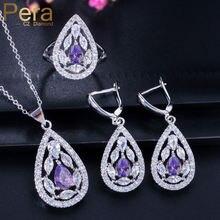 3 шт женские серьги и кольцо с фиолетовым аметистом