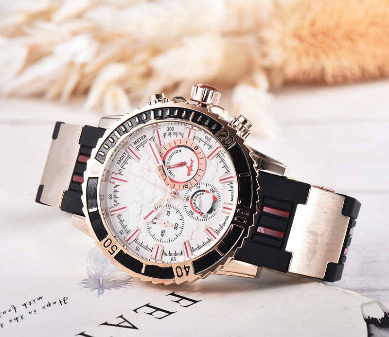 Hot Silicone Man  Chronograph Mens Watches Luxury Top Brand Quartz Watch Blue Military Sports Wristwatch Relogios Clock