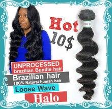 Halo Hair – extensions de cheveux 100% naturels, tissage brésilien vierge, Loose Wave, non traités, 9A, lots de 1 3 4
