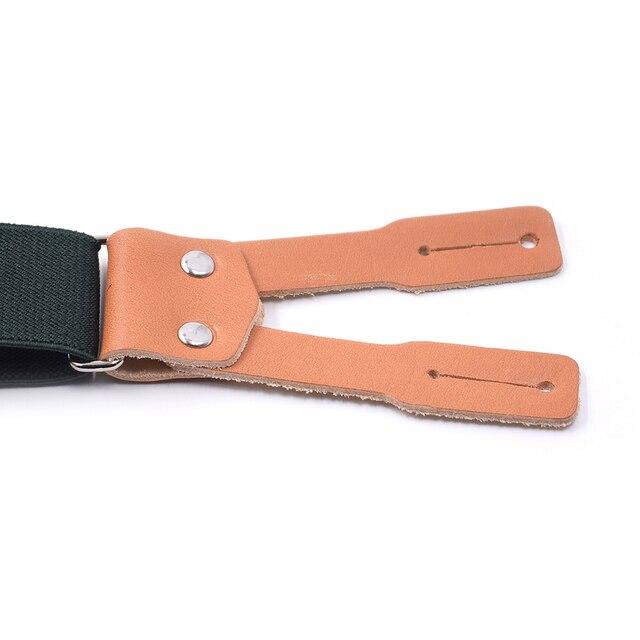 Army Green Leather Suspenders Braces for Men Button End X Back Adjustable Elastic Mens Shirt Pants Trousers Suspender Brace
