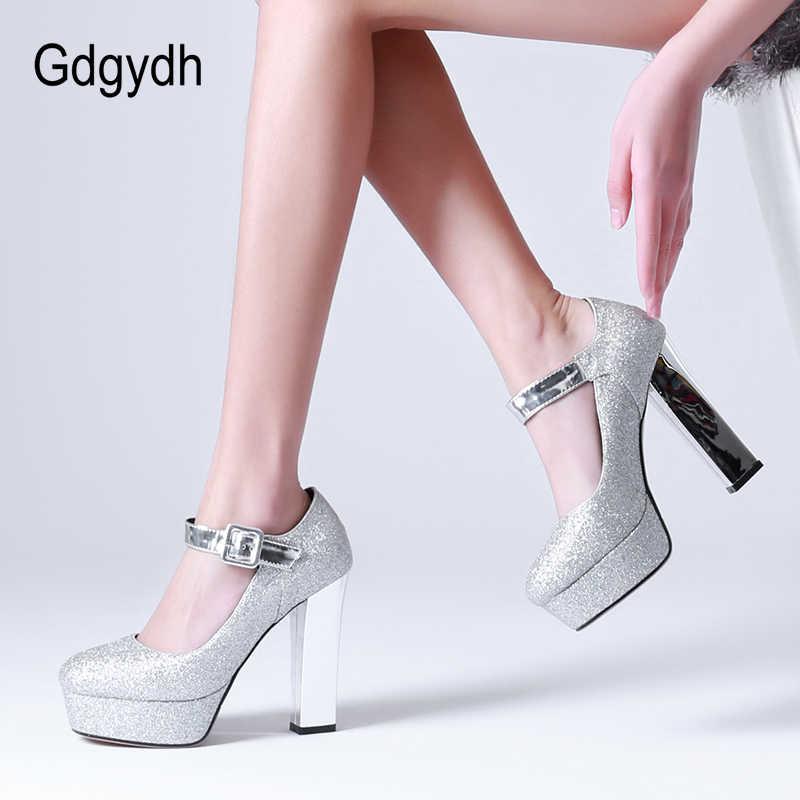 Gdgydh GOLD Sequined ผ้าเจ้าสาวรองเท้าแต่งงานผู้หญิงปั๊มแพลตฟอร์มรองเท้าส้นสูงรองเท้า Mary Janes หัวเข็มขัดแฟชั่น 2020 ฤดูใบไม้ผลิใหม่