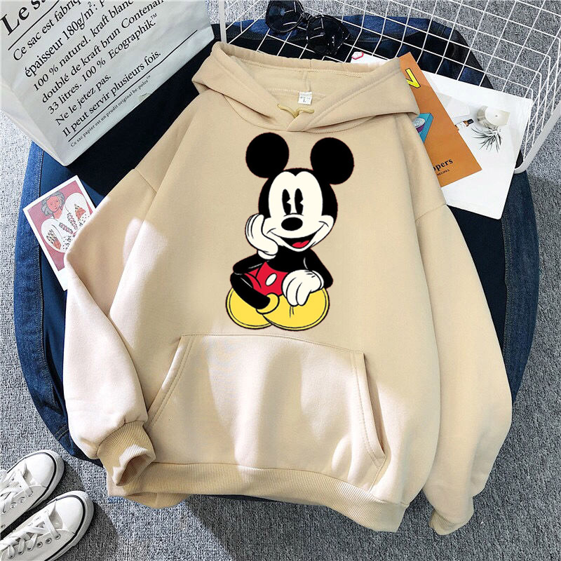 Disney Women Hoodies Minnie Mickey Mouse Hoodies Cartoon Tops Long Sleeve Pockets Sweatshirts Fashion Hooded Women 9