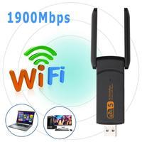 Usb sem fio wifi adaptador 1900mbps lan ethernet 2.4g 5g banda dupla placa de rede suporte wpa wpa2 avançado mecanismo segurança