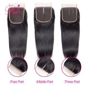 Image 5 - Fabc cabelo brasileiro feixes de cabelo em linha reta com fechamento pré arrancadas 3/4 pacotes preto natural não remy cabelo humano frete grátis