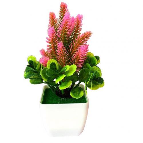 1 шт. искусственный цветок трава искусственный бонсаи Гостиная Офис садовый стол Декор - Цвет: Розовый