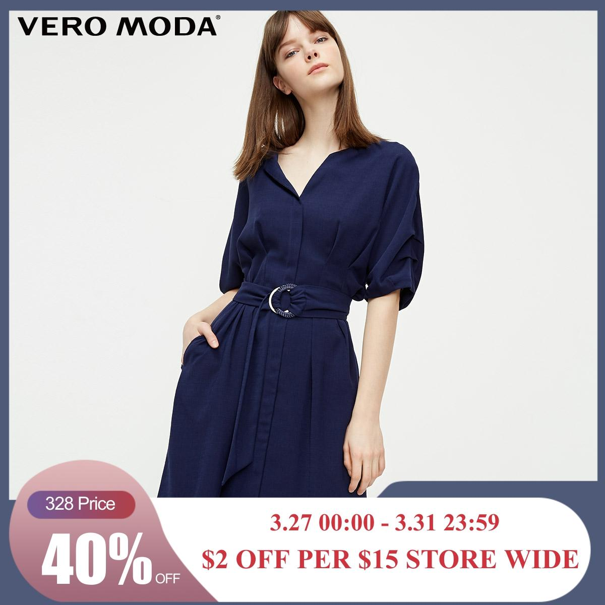 Vero Moda Women's OL Style Lace-up Waist Elbow Sleeves Dress | 31926Z508