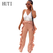 HUTI New Fashion Women Ruffles High Waist Clubwear Jumpsuits Summer Sleeveless Sexy Spaghetti Strap Bandage Female Party Romper