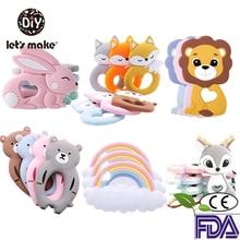 Silicone Rod Pandents Teething-Toys Gift Food-Grade Tiny Cartoon-Animals DIY 1pc