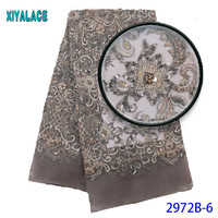 Luxury Fabric High Quality African Handmade Beads Lace Fabric High Quality Bridal Beads Lace Fabric For African Lace 2972b