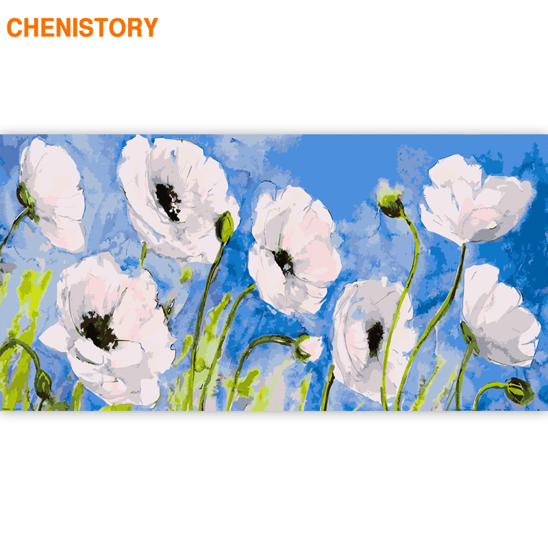 CHENISTORY 60x120cm Flowers Frame DIY Painting By Numbers Acrylic Paint By Numbers For Living Room Decors Large Size