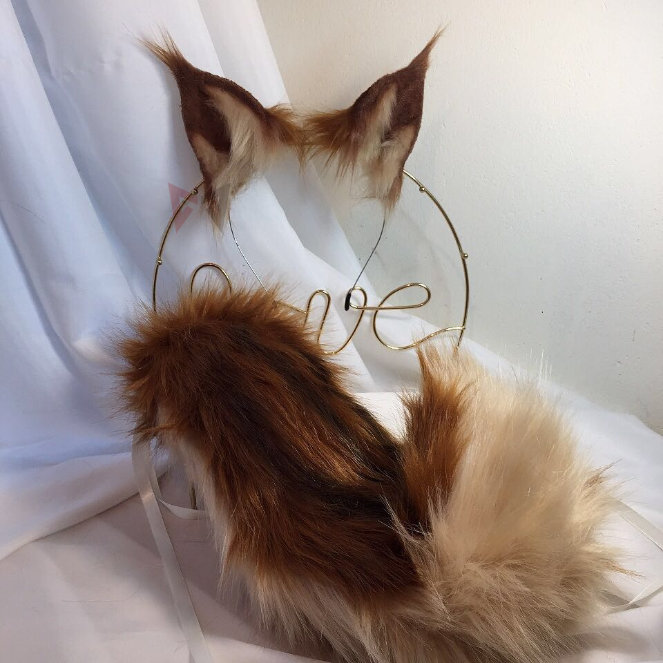 MMGG New Sciuridae Ears Hairhoop Tail Set For Anime Game Cosplay Costume Accessories Handmade Work
