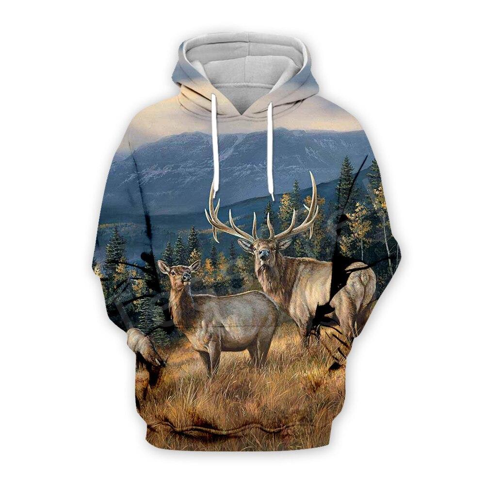 Tessffel Animal Wild Deer Hunting Hunter Pullover Tracksuit Unisex Casual MenWomen 3DPrint Zipper/Sweatshirts/Hoodies/Jacket S-5