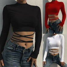 Goocheer 2019 Newest Fashion Women Casual Tank Crop Tops Vest Blouse Long Sleeve Bandage T-Shirt