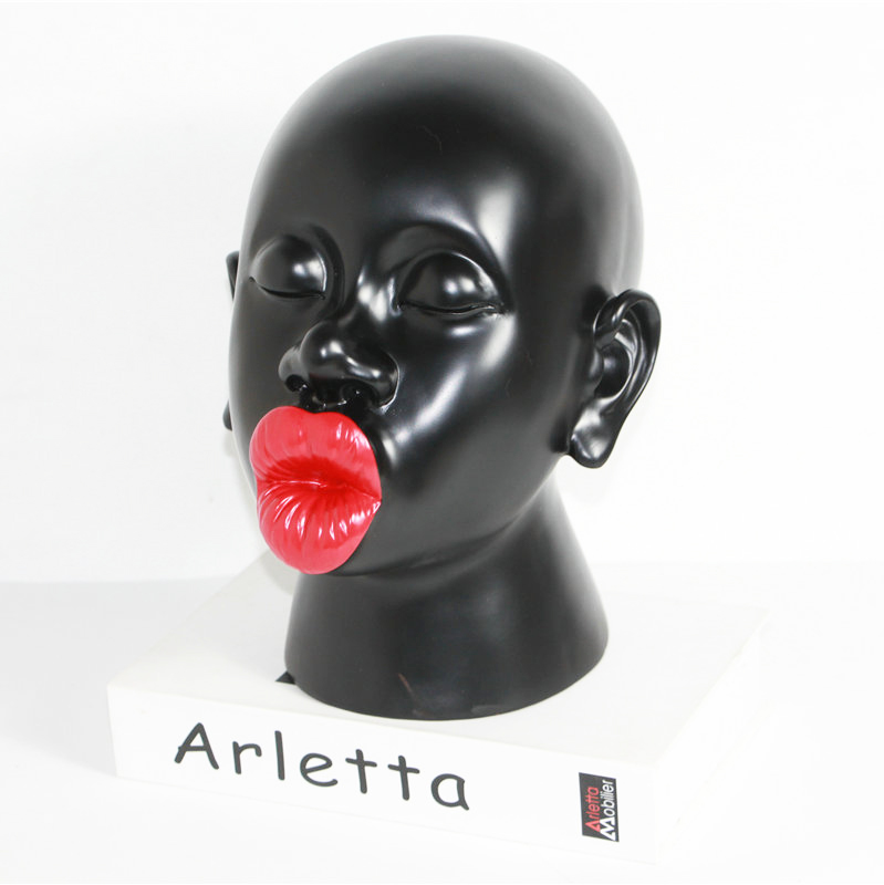 Nordic Style Big Red Lips Statue Figure Head Portraits Art Sculpture Resin Crafts Classical Home Office Decoration R2679