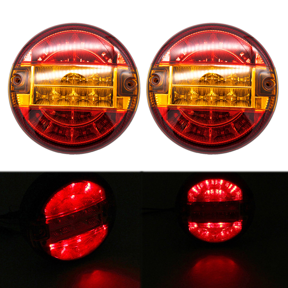 2Pcs 4inch 20 LEDs Truck Tail Light Stop 10-30V Brake Reverse Lamp For 24V Vehicles Trailer Caravan Yellow Light